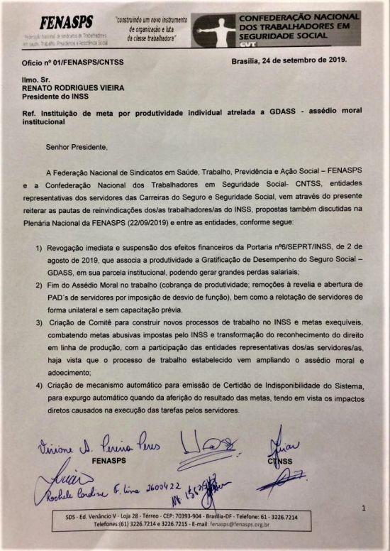 Pauta protocolada durante reunião do presidente do INSS - Brasília 24/09/2019